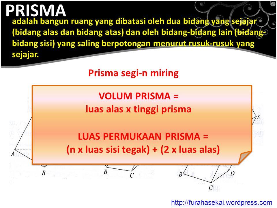 PRISMA Prisma segi-n miring VOLUM PRISMA = luas alas x tinggi prisma