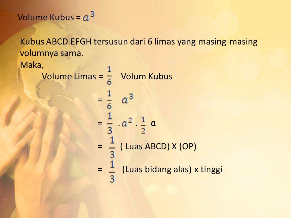 Volume Kubus = Kubus ABCD.EFGH tersusun dari 6 limas yang masing-masing volumnya sama. Maka, Volume Limas = Volum Kubus.