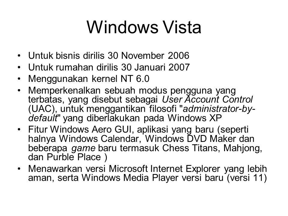 Windows Vista Untuk bisnis dirilis 30 November 2006