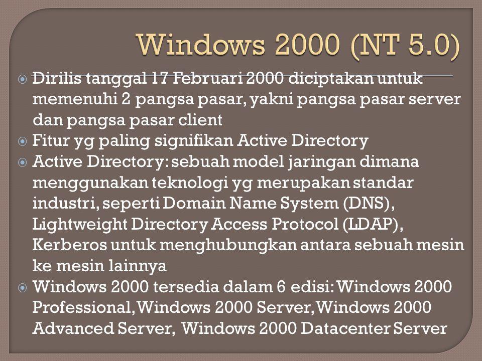 Windows 2000 (NT 5.0) Dirilis tanggal 17 Februari 2000 diciptakan untuk memenuhi 2 pangsa pasar, yakni pangsa pasar server dan pangsa pasar client.