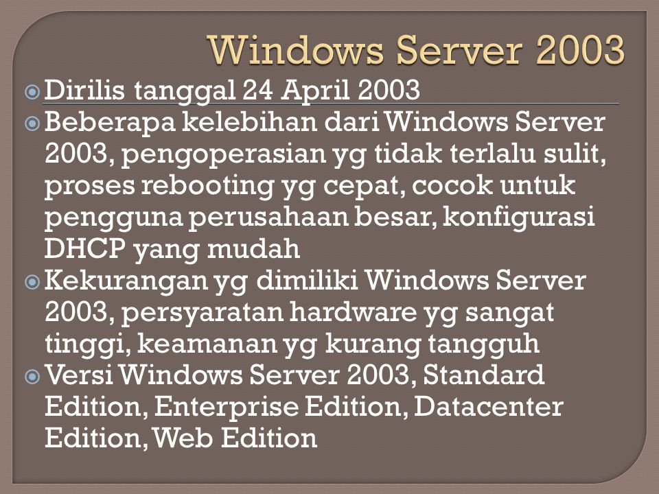 Windows Server 2003 Dirilis tanggal 24 April 2003