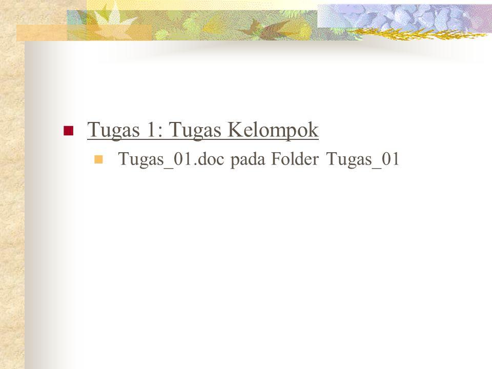 Tugas 1: Tugas Kelompok Tugas_01.doc pada Folder Tugas_01