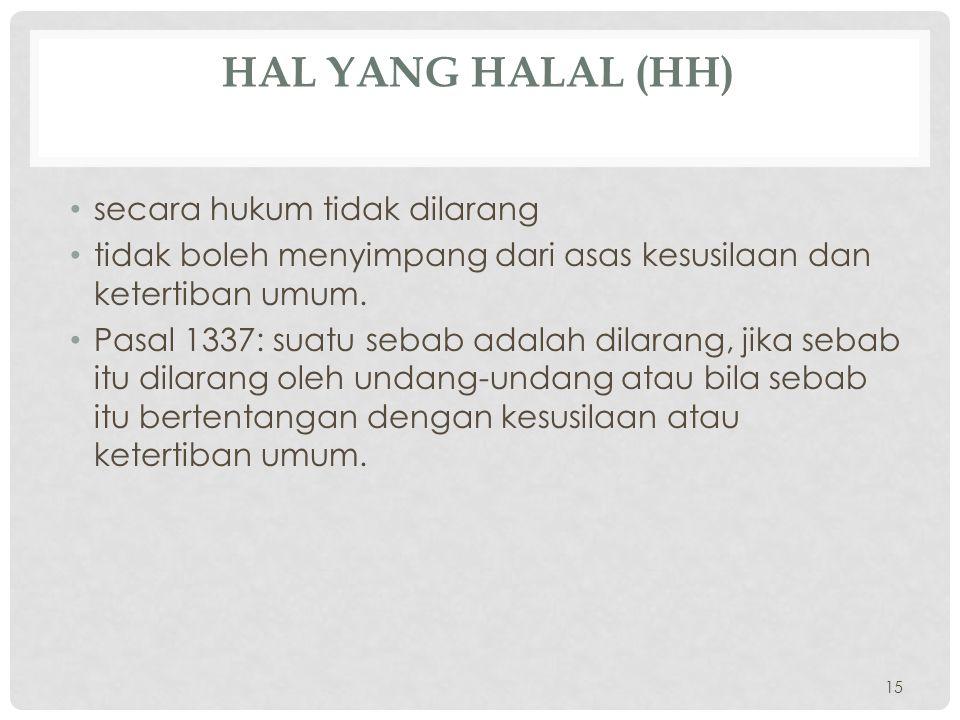 Hal yang halal (HH) secara hukum tidak dilarang