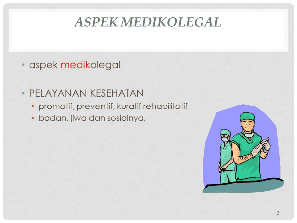 Aspek medikolegal aspek medikolegal PELAYANAN KESEHATAN