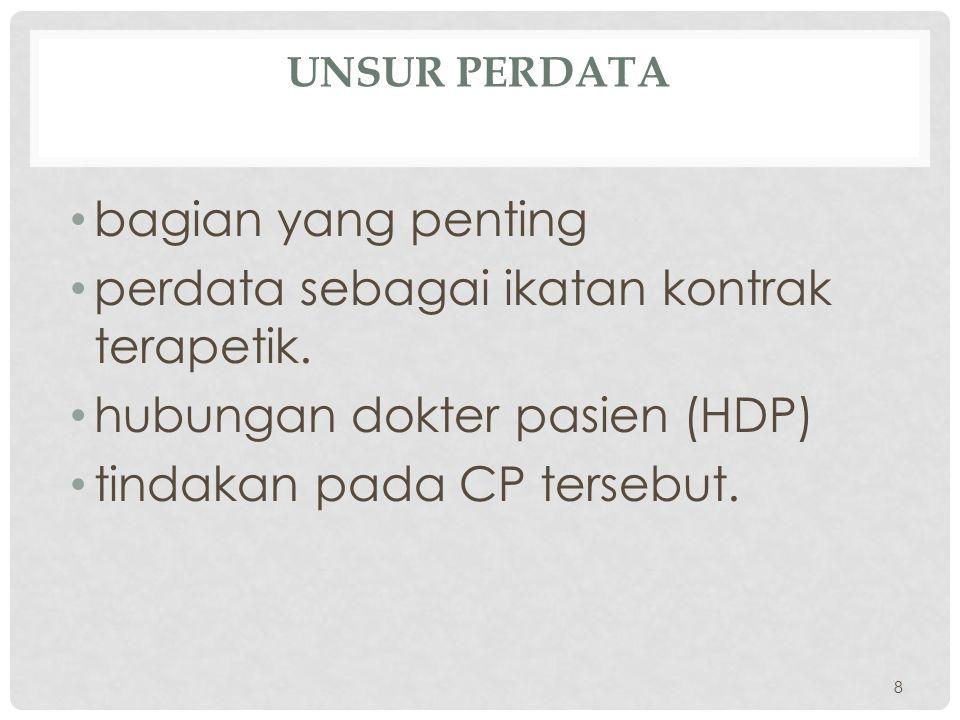 perdata sebagai ikatan kontrak terapetik. hubungan dokter pasien (HDP)