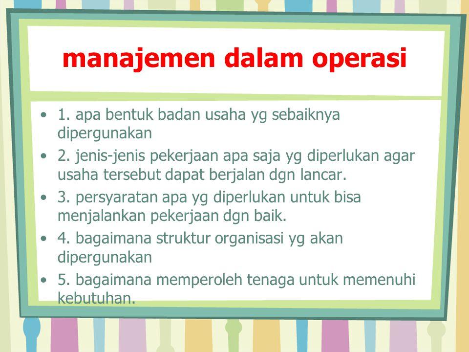 manajemen dalam operasi