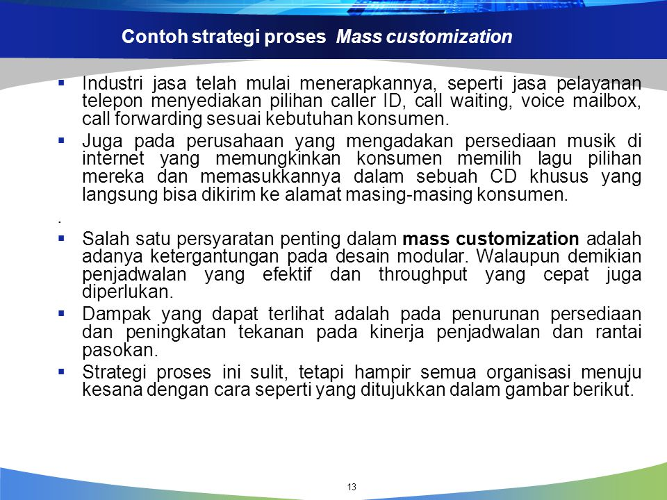 Contoh strategi proses Mass customization