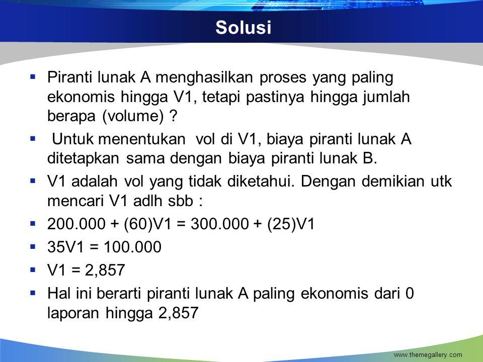 Solusi Piranti lunak A menghasilkan proses yang paling ekonomis hingga V1, tetapi pastinya hingga jumlah berapa (volume)