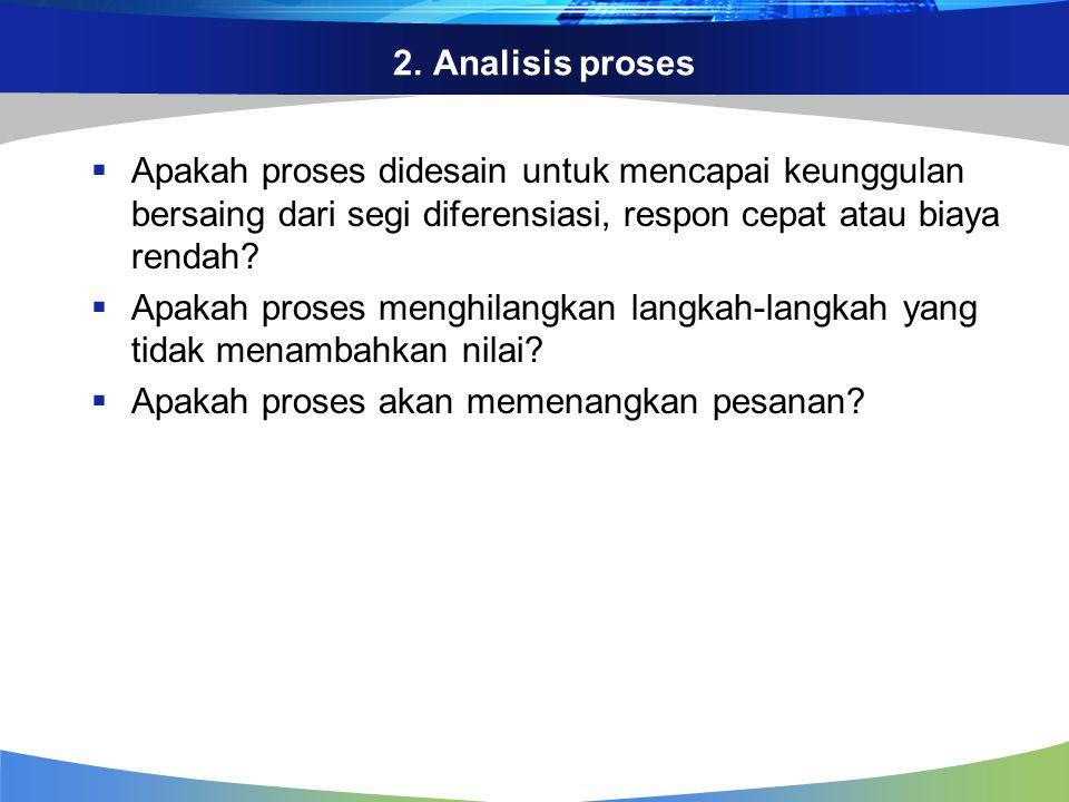 2. Analisis proses Apakah proses didesain untuk mencapai keunggulan bersaing dari segi diferensiasi, respon cepat atau biaya rendah