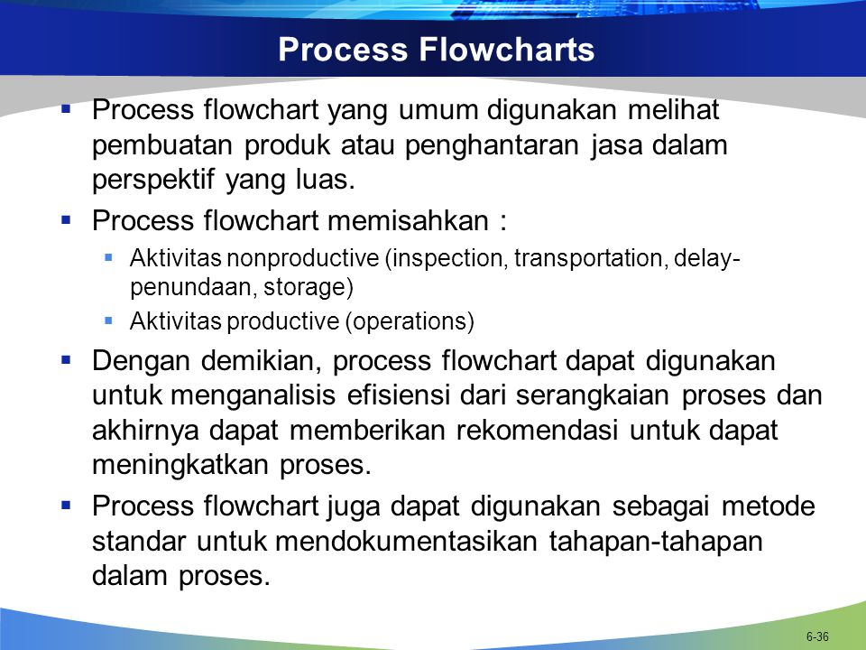 Process Flowcharts Process flowchart yang umum digunakan melihat pembuatan produk atau penghantaran jasa dalam perspektif yang luas.