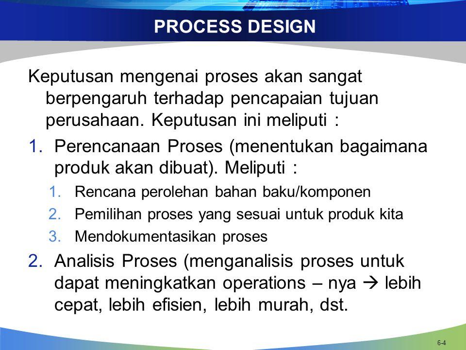 PROCESS DESIGN Keputusan mengenai proses akan sangat berpengaruh terhadap pencapaian tujuan perusahaan. Keputusan ini meliputi :