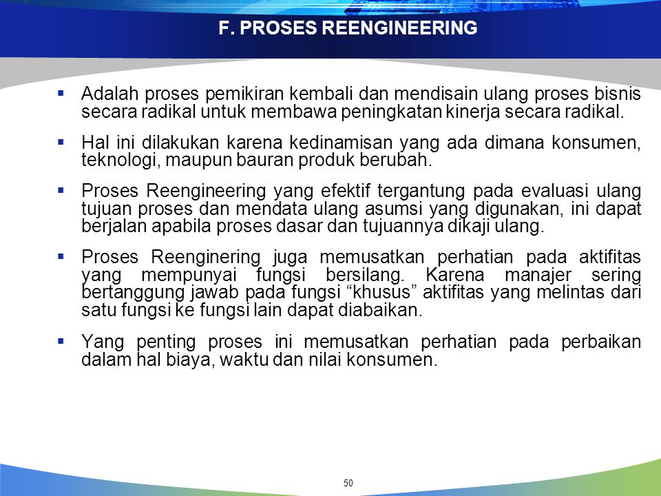 F. PROSES REENGINEERING