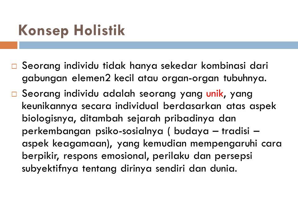 Konsep Holistik Seorang individu tidak hanya sekedar kombinasi dari gabungan elemen2 kecil atau organ-organ tubuhnya.