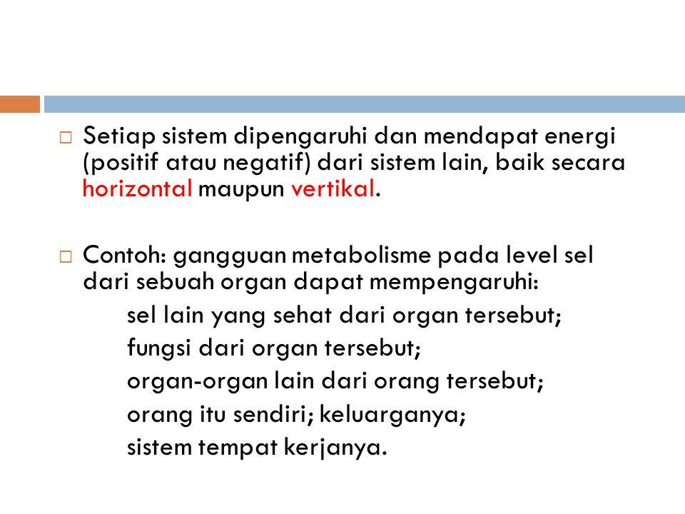 Setiap sistem dipengaruhi dan mendapat energi (positif atau negatif) dari sistem lain, baik secara horizontal maupun vertikal.