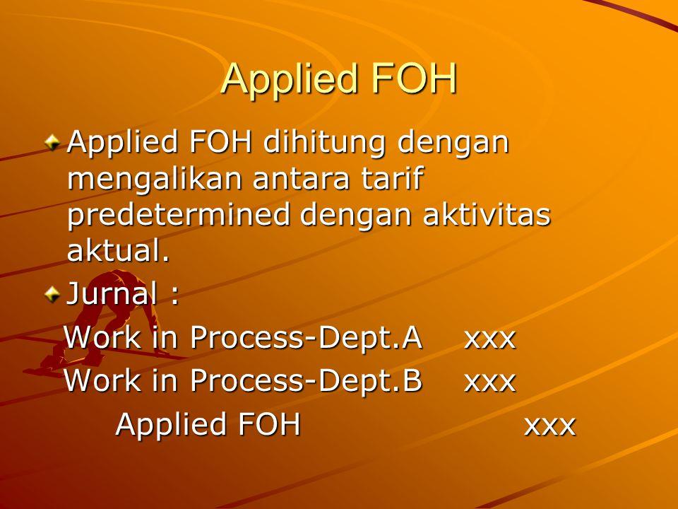 Applied FOH Applied FOH dihitung dengan mengalikan antara tarif predetermined dengan aktivitas aktual.