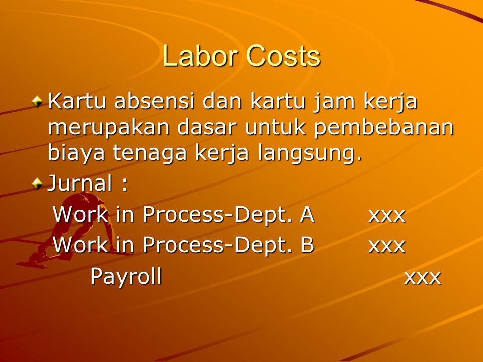 Labor Costs Kartu absensi dan kartu jam kerja merupakan dasar untuk pembebanan biaya tenaga kerja langsung.