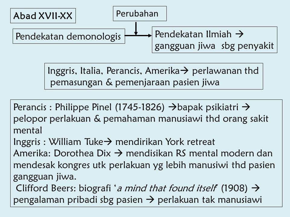 Perubahan Abad XVII-XX. Pendekatan Ilmiah  gangguan jiwa sbg penyakit. Pendekatan demonologis.
