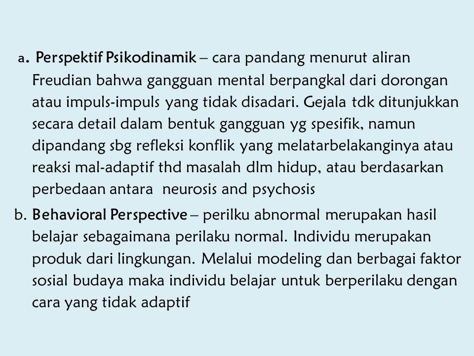 a. Perspektif Psikodinamik – cara pandang menurut aliran Freudian bahwa gangguan mental berpangkal dari dorongan atau impuls-impuls yang tidak disadari. Gejala tdk ditunjukkan secara detail dalam bentuk gangguan yg spesifik, namun dipandang sbg refleksi konflik yang melatarbelakanginya atau reaksi mal-adaptif thd masalah dlm hidup, atau berdasarkan perbedaan antara neurosis and psychosis
