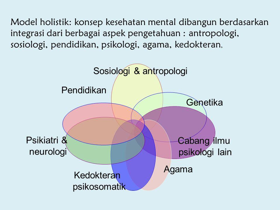 Model holistik: konsep kesehatan mental dibangun berdasarkan integrasi dari berbagai aspek pengetahuan : antropologi, sosiologi, pendidikan, psikologi, agama, kedokteran,