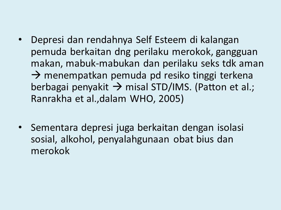 Depresi dan rendahnya Self Esteem di kalangan pemuda berkaitan dng perilaku merokok, gangguan makan, mabuk-mabukan dan perilaku seks tdk aman  menempatkan pemuda pd resiko tinggi terkena berbagai penyakit  misal STD/IMS. (Patton et al.; Ranrakha et al.,dalam WHO, 2005)