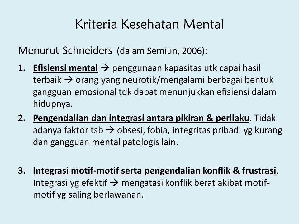 Kriteria Kesehatan Mental