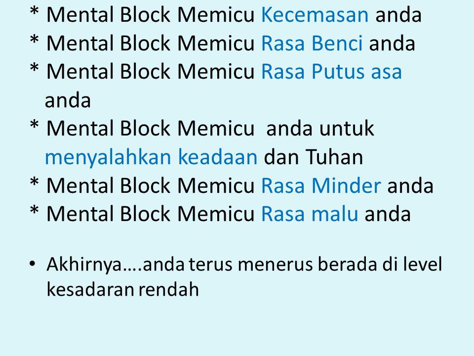 * Mental Block Memicu Kecemasan anda * Mental Block Memicu Rasa Benci anda * Mental Block Memicu Rasa Putus asa anda * Mental Block Memicu anda untuk menyalahkan keadaan dan Tuhan * Mental Block Memicu Rasa Minder anda * Mental Block Memicu Rasa malu anda