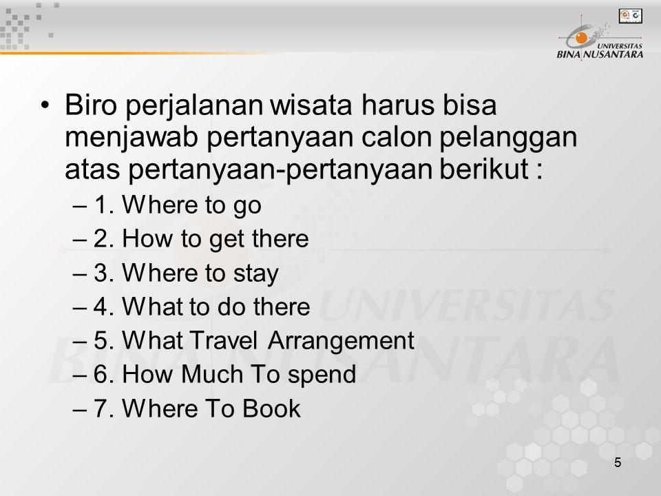 Biro perjalanan wisata harus bisa menjawab pertanyaan calon pelanggan atas pertanyaan-pertanyaan berikut :