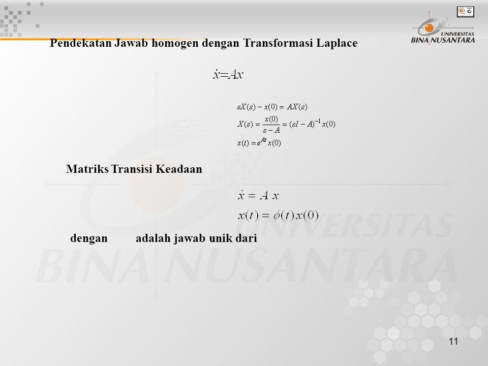 Pendekatan Jawab homogen dengan Transformasi Laplace