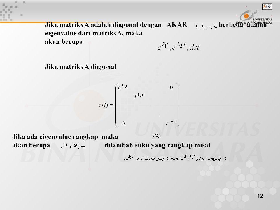 Jika matriks A adalah diagonal dengan AKAR berbeda adalah eigenvalue dari matriks A, maka