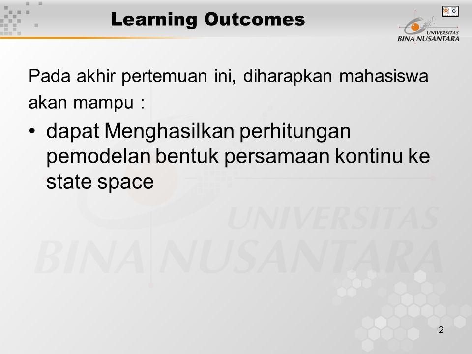 Learning Outcomes Pada akhir pertemuan ini, diharapkan mahasiswa. akan mampu :