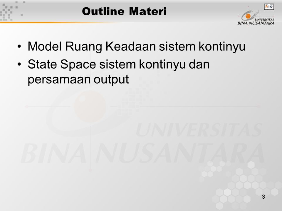 Model Ruang Keadaan sistem kontinyu
