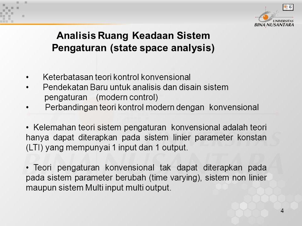 Analisis Ruang Keadaan Sistem Pengaturan (state space analysis)