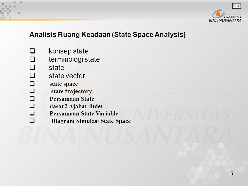 Analisis Ruang Keadaan (State Space Analysis) konsep state