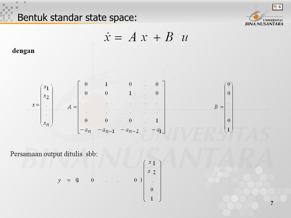 Bentuk standar state space: