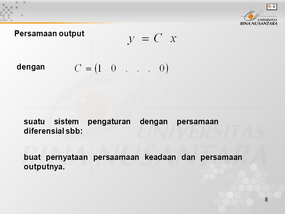 Persamaan output dengan.