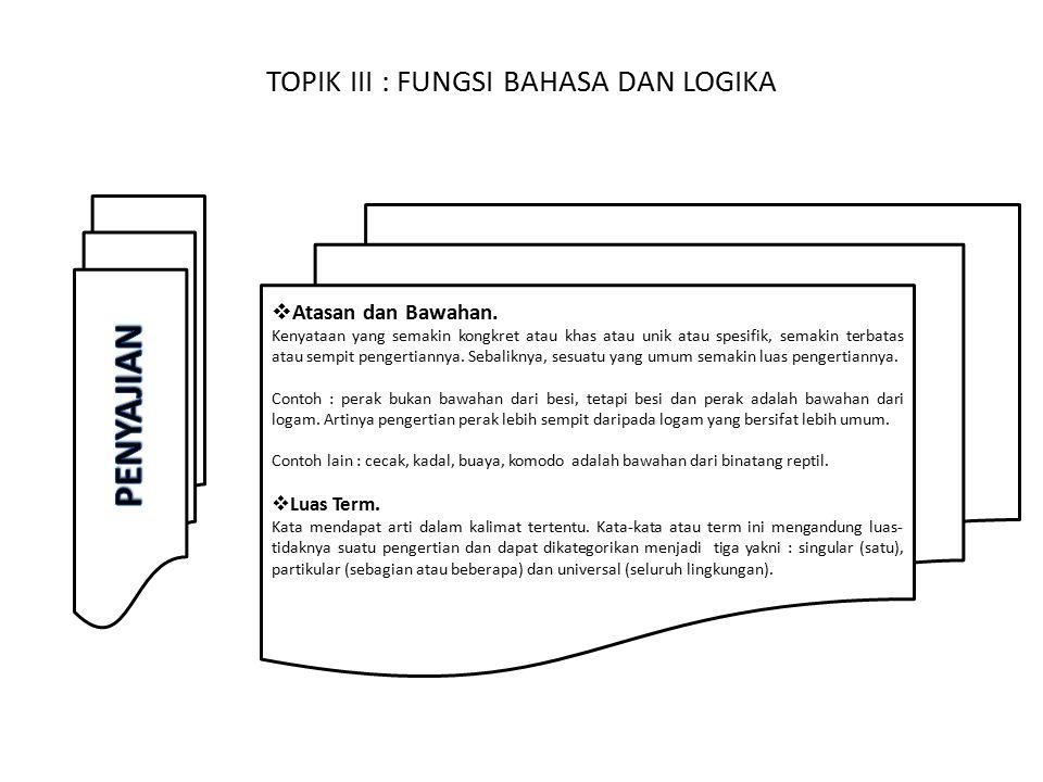 TOPIK III : FUNGSI BAHASA DAN LOGIKA