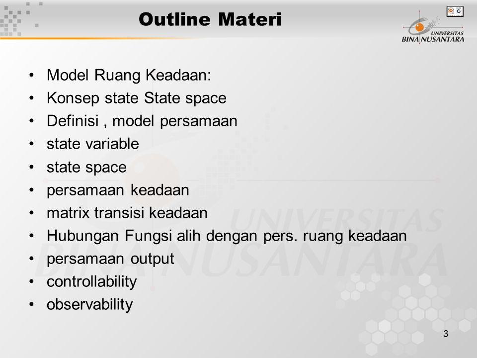 Outline Materi Model Ruang Keadaan: Konsep state State space