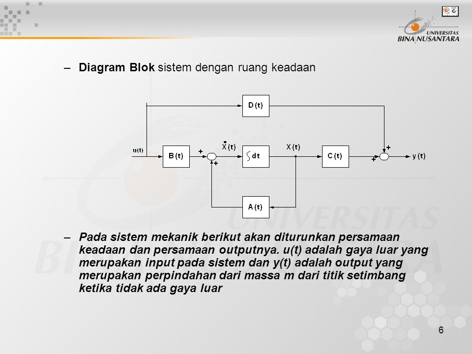 Diagram Blok sistem dengan ruang keadaan