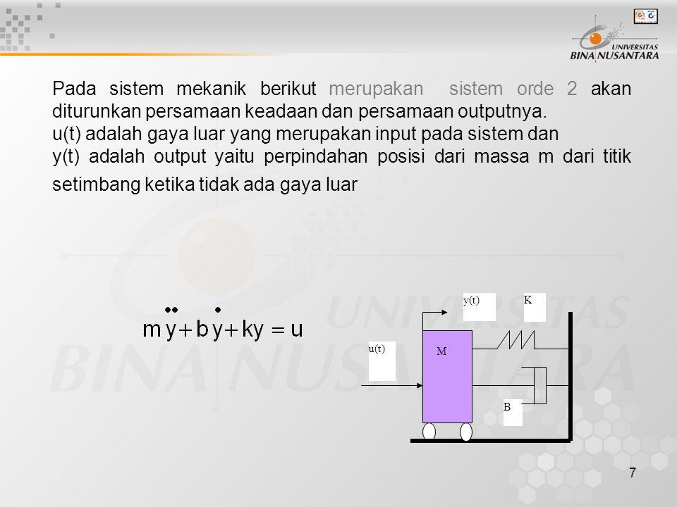 u(t) adalah gaya luar yang merupakan input pada sistem dan
