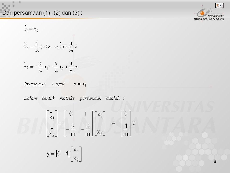 Dari persamaan (1) , (2) dan (3) :
