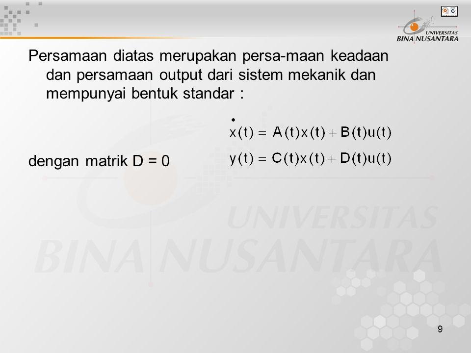 Persamaan diatas merupakan persa-maan keadaan dan persamaan output dari sistem mekanik dan mempunyai bentuk standar :