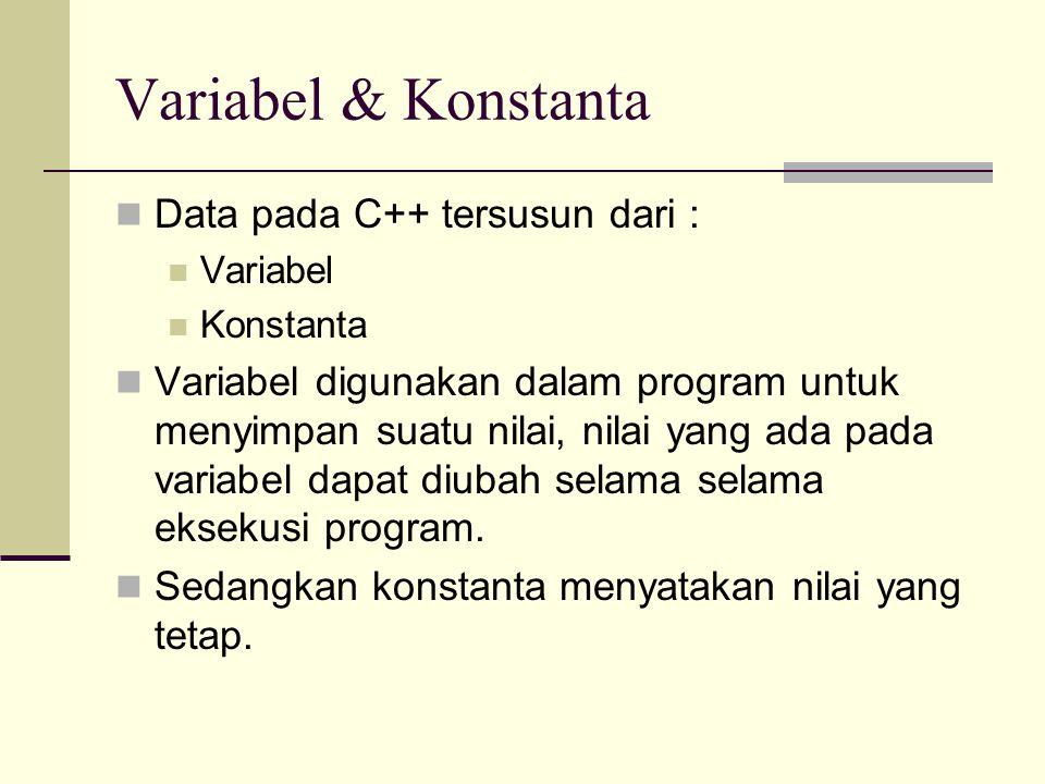 Variabel & Konstanta Data pada C++ tersusun dari :