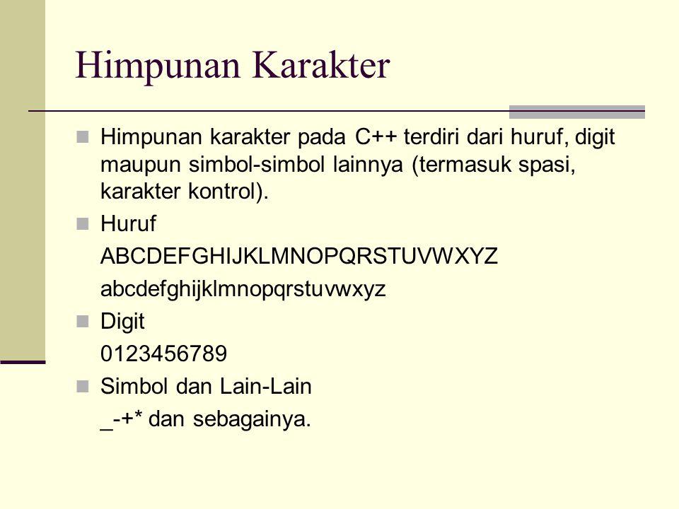 Himpunan Karakter Himpunan karakter pada C++ terdiri dari huruf, digit maupun simbol-simbol lainnya (termasuk spasi, karakter kontrol).