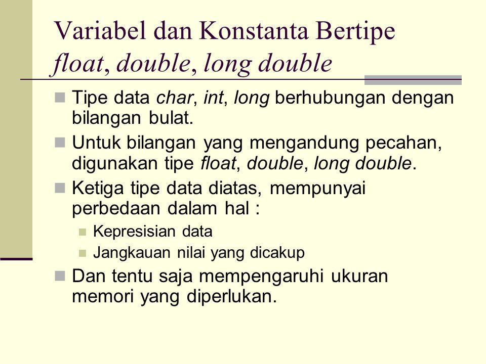 Variabel dan Konstanta Bertipe float, double, long double