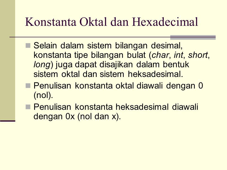 Konstanta Oktal dan Hexadecimal