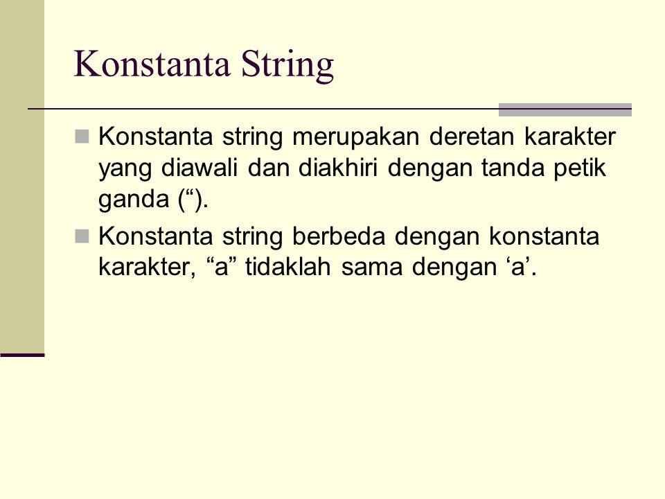 Konstanta String Konstanta string merupakan deretan karakter yang diawali dan diakhiri dengan tanda petik ganda ( ).