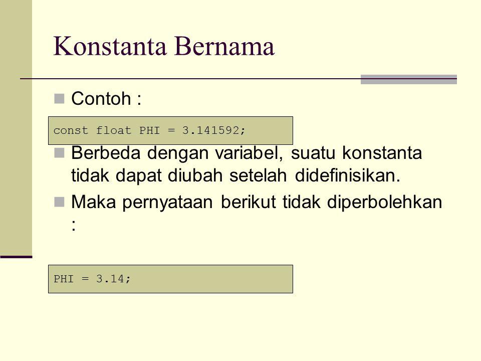 Konstanta Bernama Contoh :