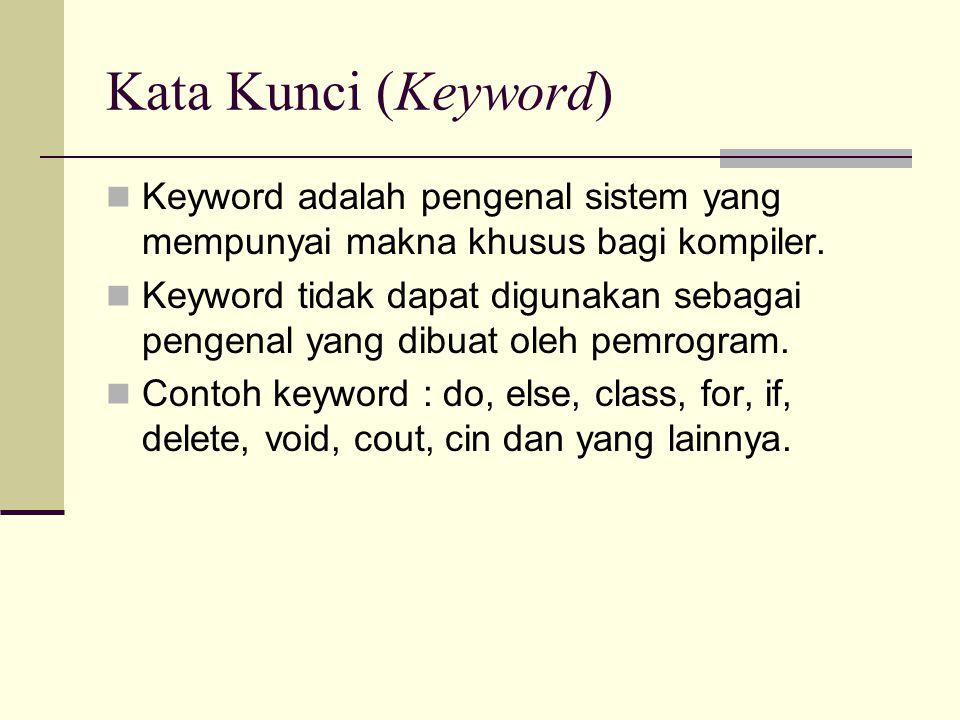 Kata Kunci (Keyword) Keyword adalah pengenal sistem yang mempunyai makna khusus bagi kompiler.