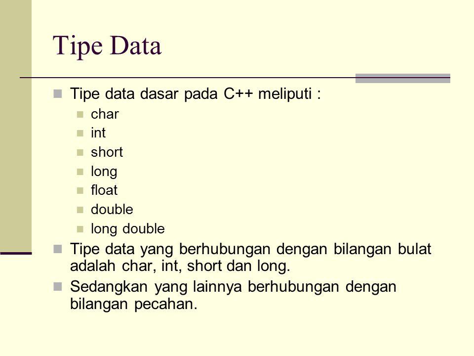 Tipe Data Tipe data dasar pada C++ meliputi :