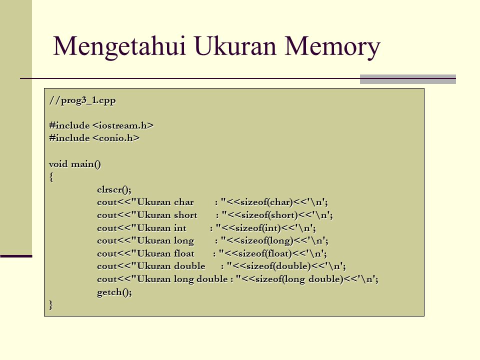 Mengetahui Ukuran Memory